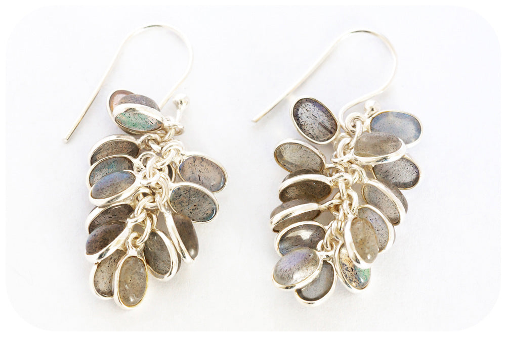Drops of Richly toned Labradorite as Tassel Earring In 925 Sterling Silver - Victoria's Jewellery