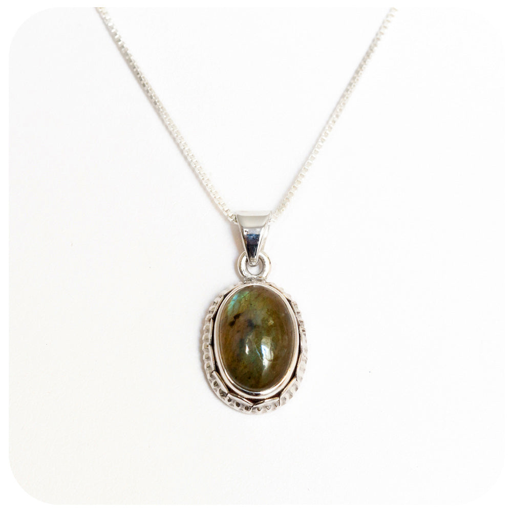 Oval Labradorite Pendant - 13x10mm - crafted in 925 Sterling Silver - Victoria's Jewellery