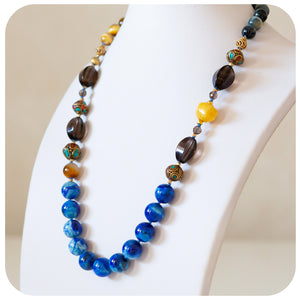Moroccan Beads, Lapis Lazuli, Golden Tiger's Eye and Smokey Quartz Necklace with Butter Jade Accent - Victoria's Jewellery