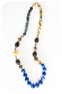 Moroccan Beads, Lapis Lazuli, Golden Tiger's Eye and Smokey Quartz Necklace with Butter Jade Accent