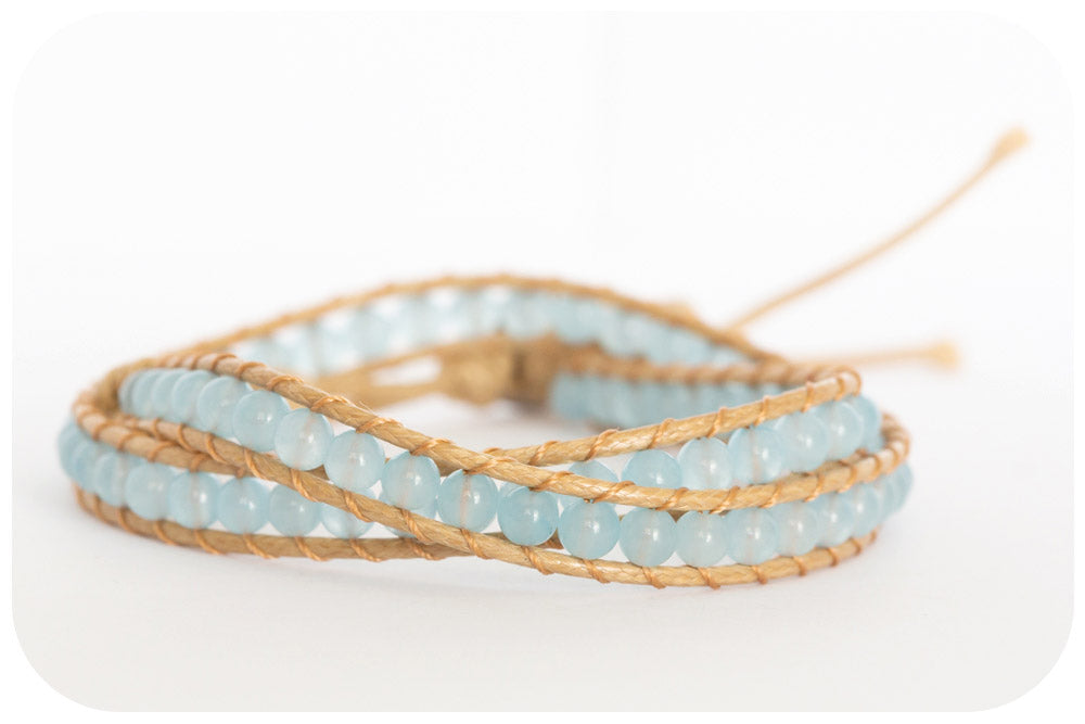 Double Wrap Bracelet with light blue Agate Stones