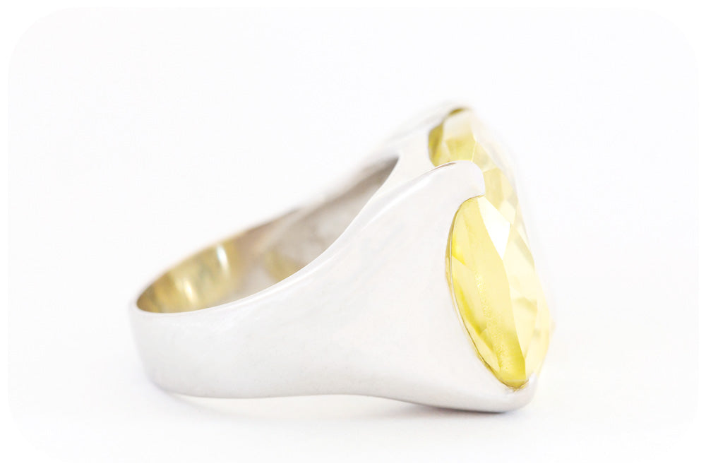 Vivid Lemon Quartz Ring Boldly Crafted in 925 Sterling Silver - Victoria's Jewellery