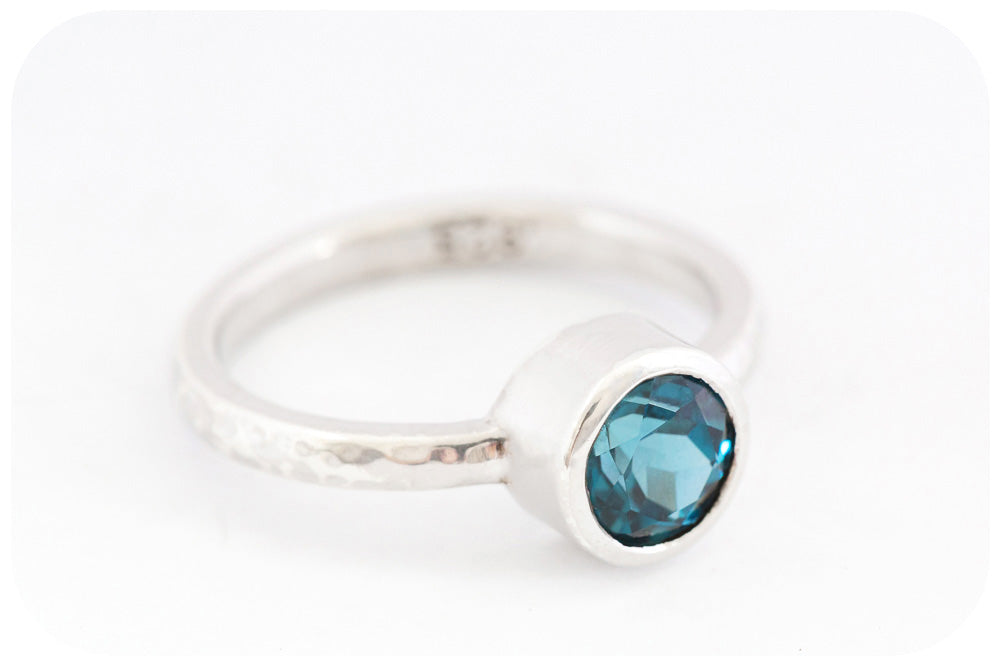 Handmade London Blue Topaz Ring in a 925 Sterling Silver Tube Setting - Victoria's Jewellery