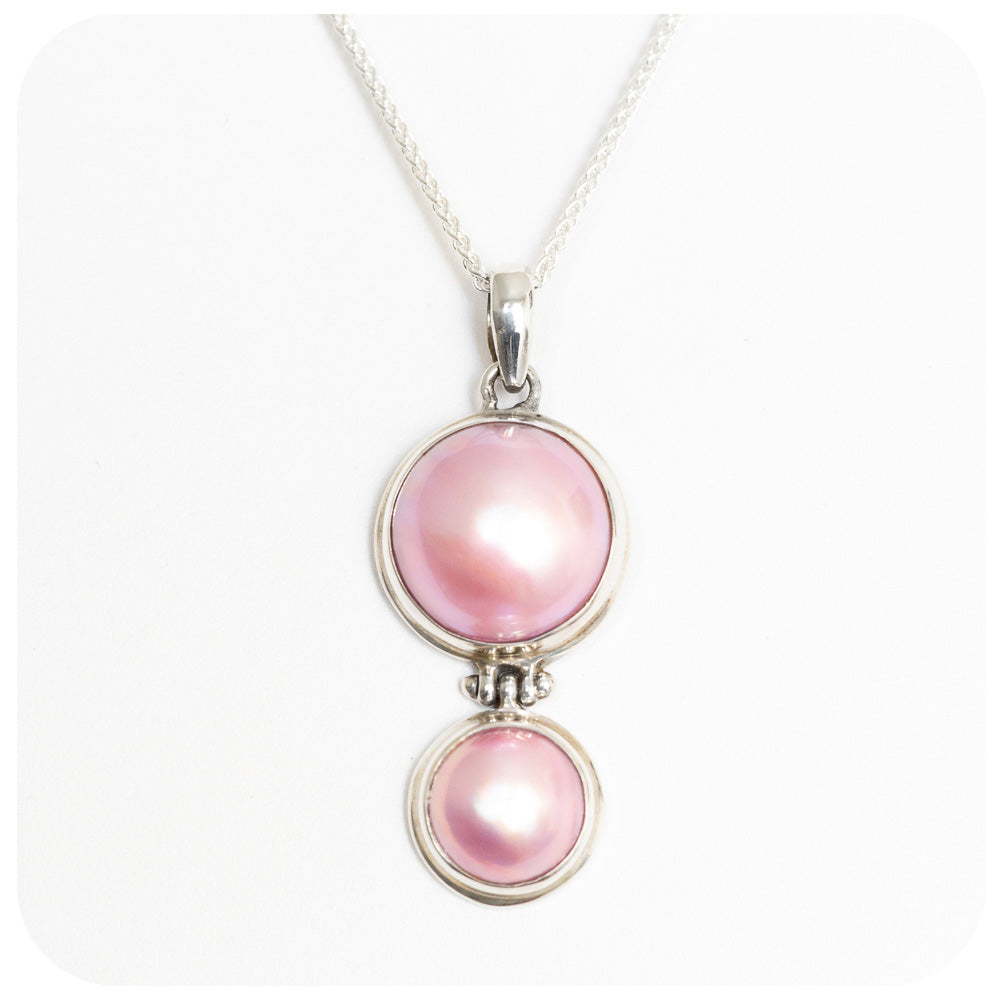 Pink Double Mabe Pearl Pendant - Victoria's Jewellery