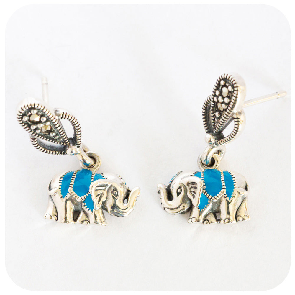 Elephant Earring with Marcasite and Blue Enamel in 925 Sterling Silver - Victoria's Jewellery
