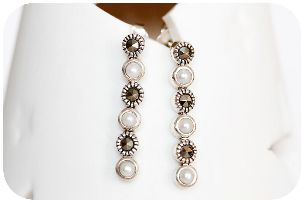 Exquisite Marcasite and Pearl Linear Drop Earrings in 925 Sterling Silver - Victoria's Jewellery