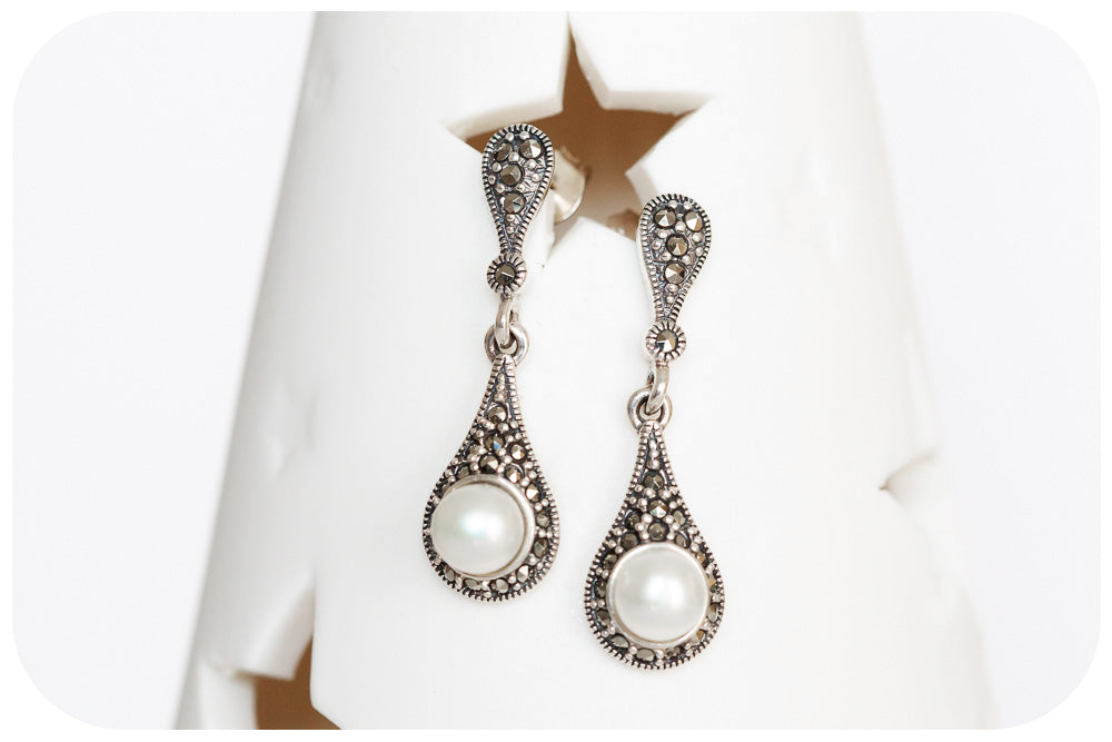 Marcasite and White Fresh Water Pearl Drop Earring In 925 Sterling Silver - Victoria's Jewellery