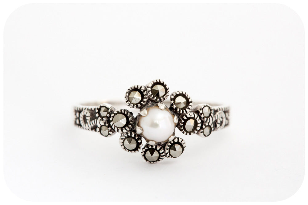 Dainty 3mm White Fresh Water Pearl and Marcasite Ring in 925 Sterling Silver - Victoria's Jewellery