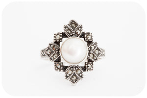 White Fresh Water Pearl and Marcasite Ring in Sterling Silver