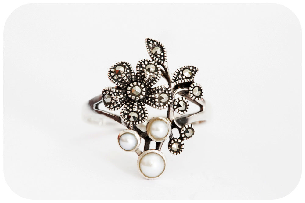 Marcasite Flower and Fresh Water Pearl Ring in 925 Sterling Silver - Victoria's Jewellery