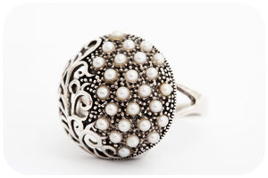 Cape Pin Cushion Domed Filigree Ring with Pearls and Marcasite in 925 Sterling Silver - Victoria's Jewellery