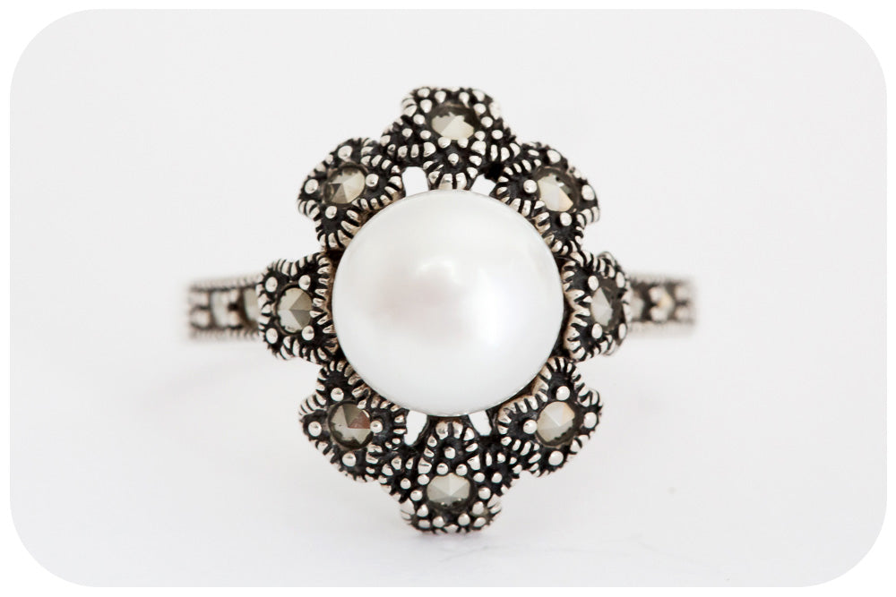 White Fresh Water Pearl and Marcasite Ring - Victoria's Jewellery