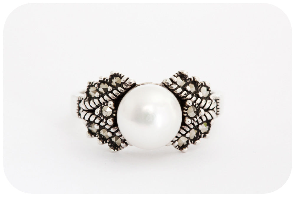 Marcasite and Lustrous White Fresh Water Pearl Ring crafted in 925 Sterling Silver - Victoria's Jewellery
