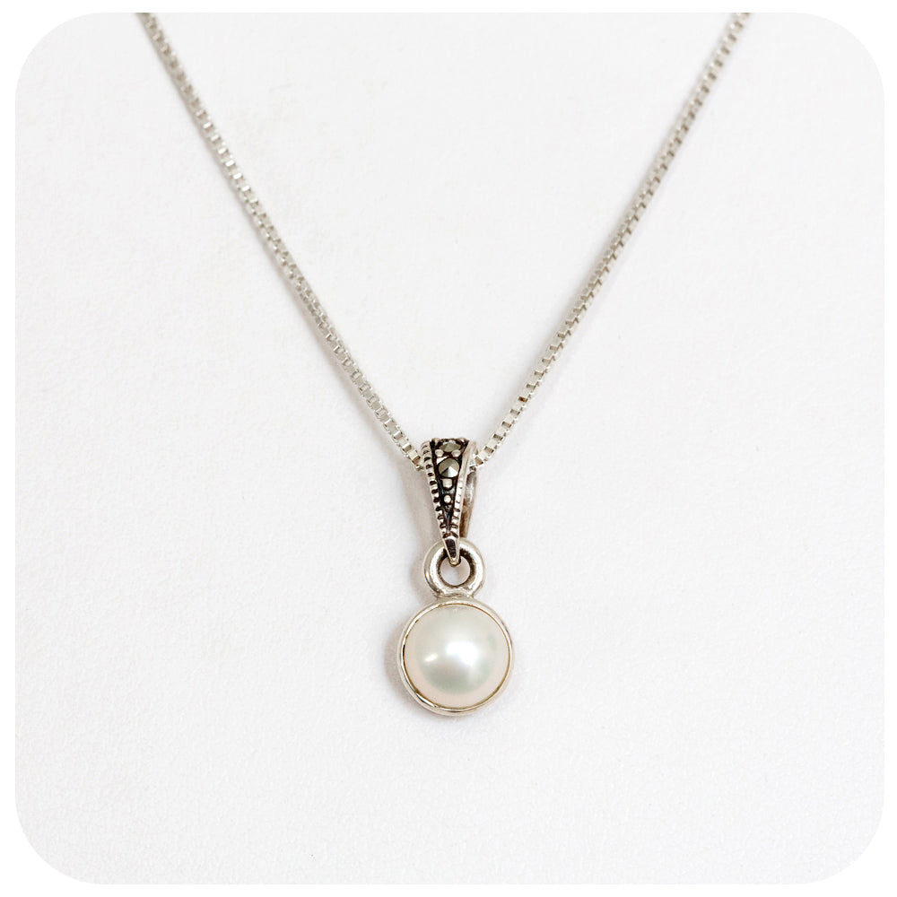 Fresh Water Pearl in Sterling Silver with Marcasite - Victoria's Jewellery