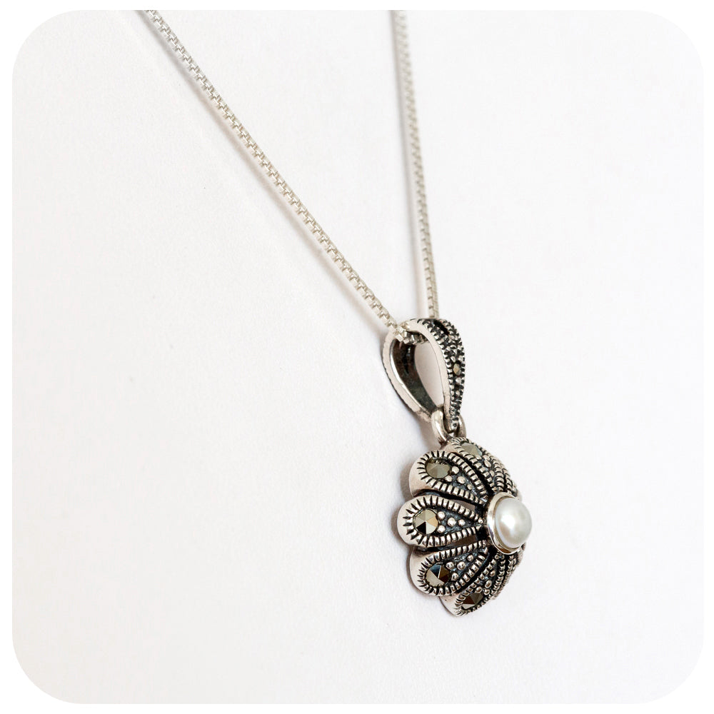 Fresh Water Pearl in Marcasite Flower Pendant - Victoria's Jewellery