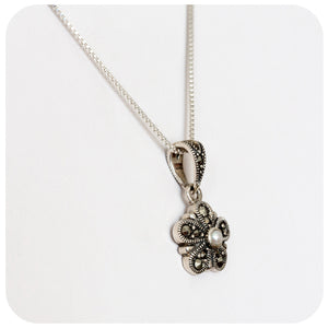 Fresh Water Pearl and Marcasite Flower Pendant in Sterling Silver - Victoria's Jewellery