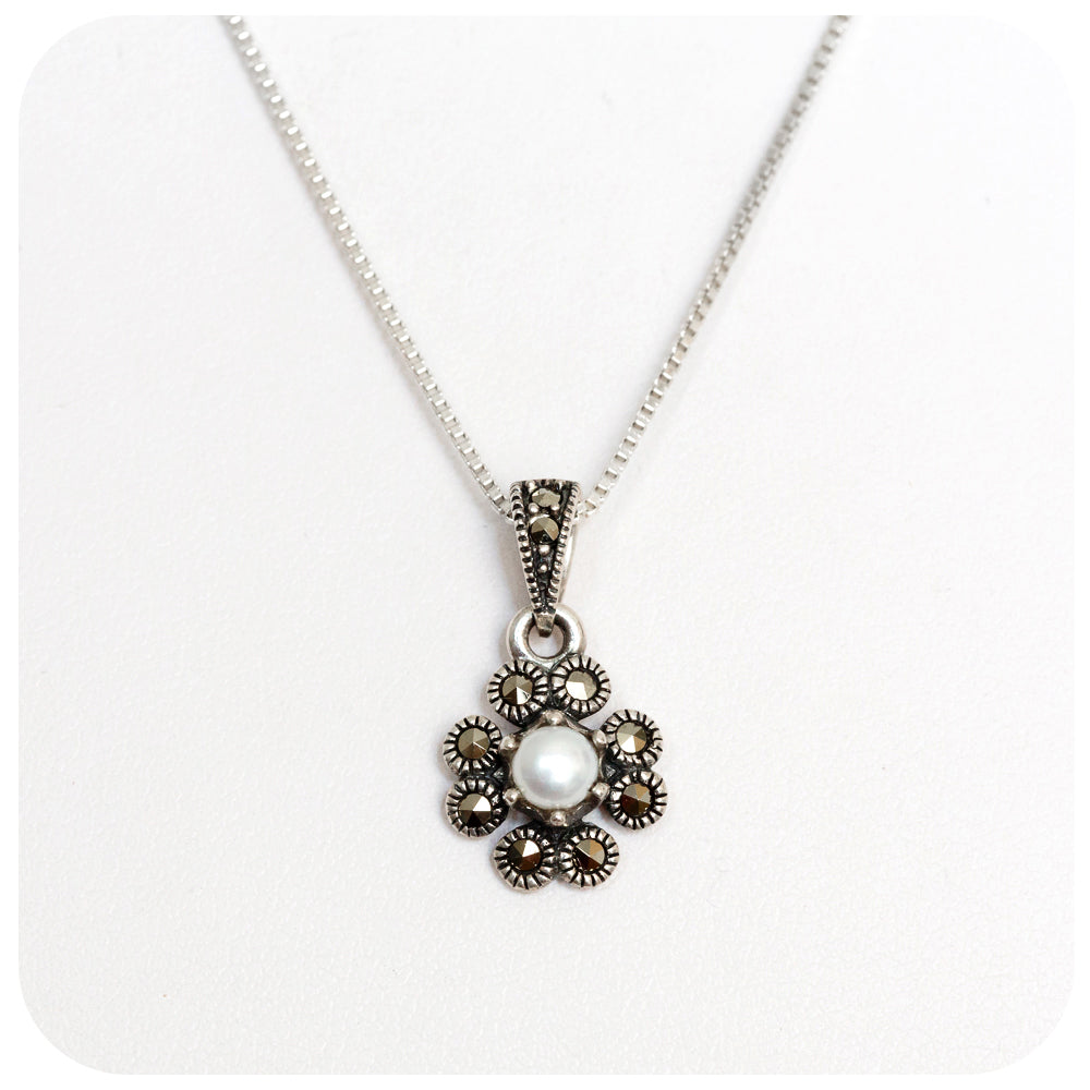 Fresh Water Pearl and Marcasite Four Leaf Clover Pendant in Sterling Silver - Victoria's Jewellery