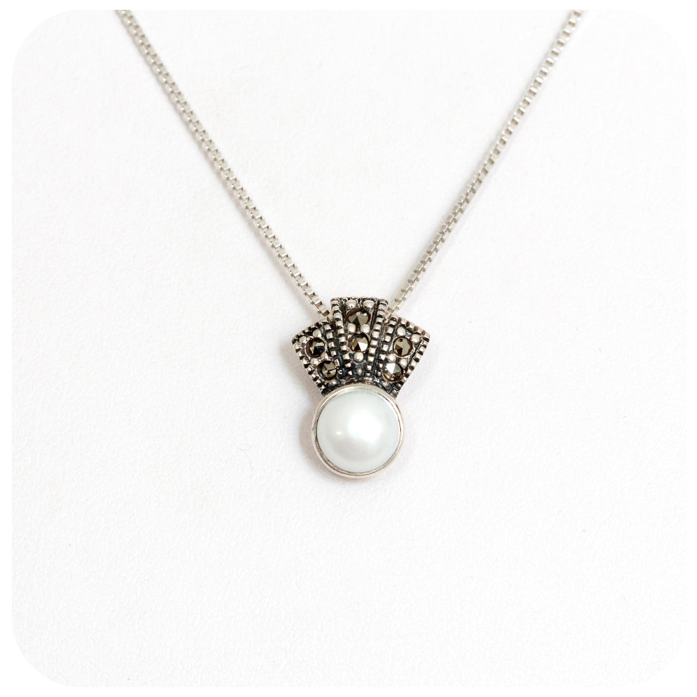 Fresh Water Pearl with Marcasite Crown Pendant in Sterling Silver - Victoria's Jewellery
