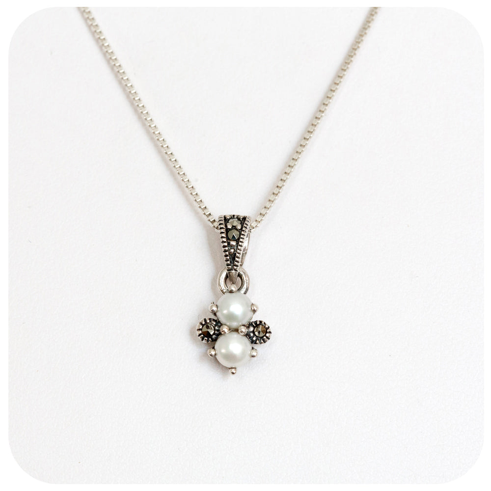 Double Fresh Water Pearl and Marcasite Pendant in Sterling Silver - Victoria's Jewellery