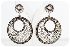 Giraffe-Print Inspired Earrings with Marcasite in 925 Sterling Silver - Victoria's Jewellery