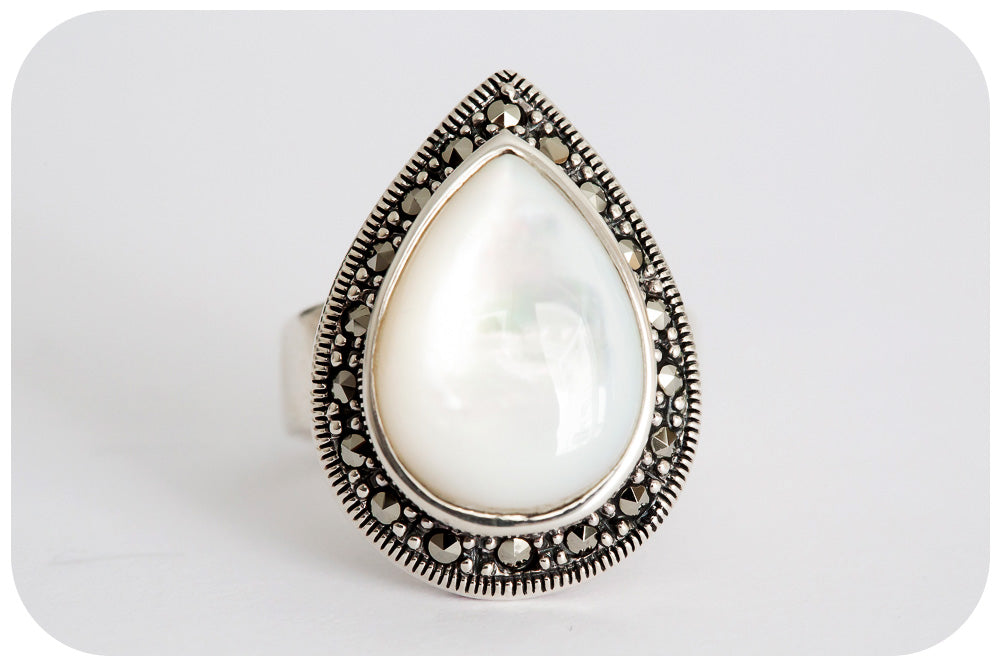 Pear cut Mother of Pearl and Marcasite Ring - Victoria's Jewellery