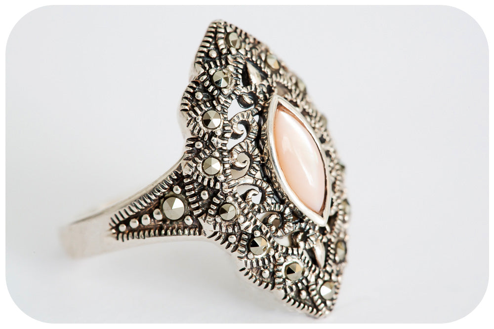 Mother of Pearl and Marcasite Filigree Ring in Sterling Silver - Victoria's Jewellery