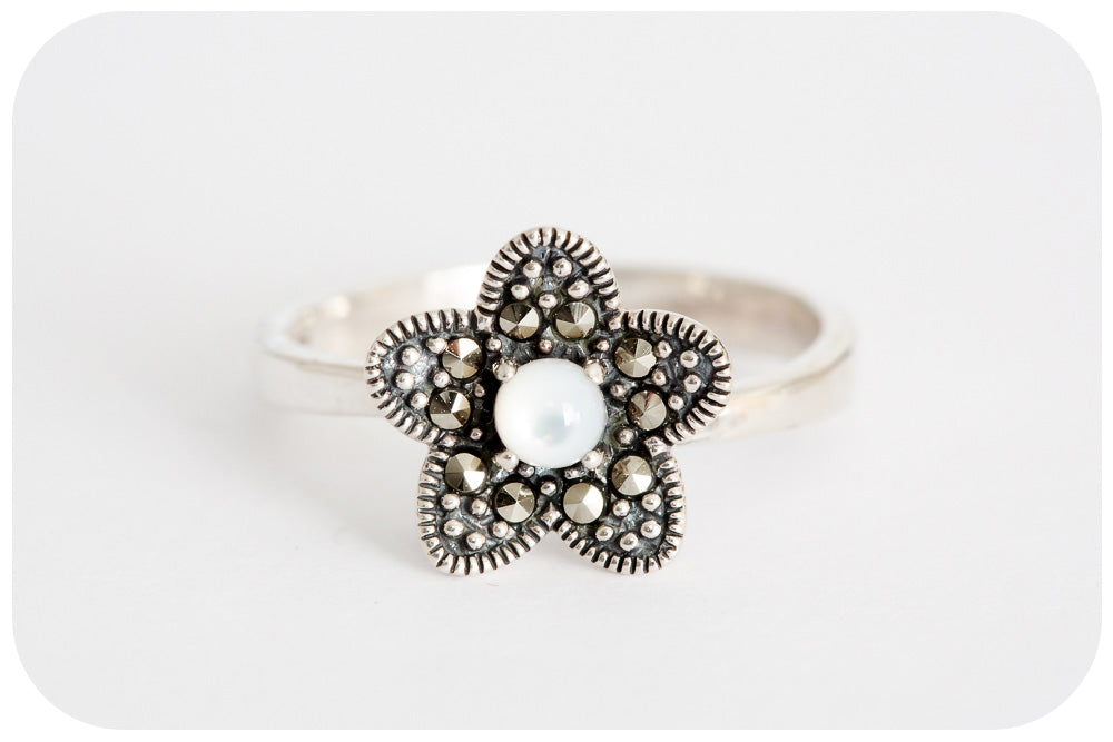 Dainty Mother of Pearl and Marcasite Flower Ring in 925 Sterling Silver - Victoria's Jewellery
