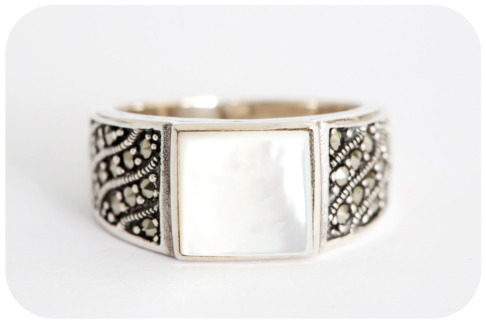 Moroccan Mother of Pearl and Marcasite Signet Style Ring in 925 Sterling Silver - Victoria's Jewellery