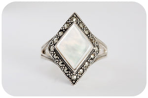 The Queen of Scotts Mother of Pearl and Marcasite Ring in 925 Sterling Silver - Victoria's Jewellery