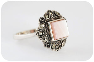 Pink Square cut Mother of Pearl and Marcasite Ring - Victoria's Jewellery