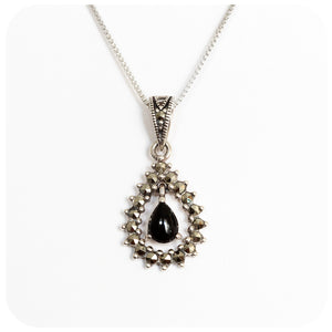 Pear cut Onyx and Marcasite Pendant in Sterling Silver - Victoria's Jewellery