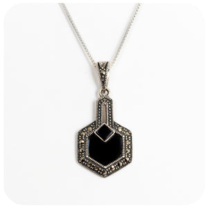 Onyx and Marcasite Pendant in Sterling Silver - Victoria's Jewellery