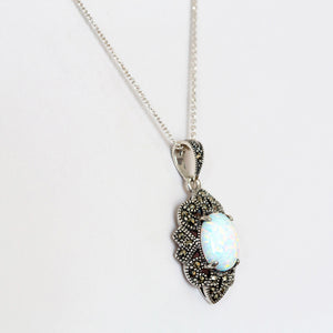 Lovely oval Gilson-Opal and Marcasite Pendant In 925 Sterling Silver - Victoria's Jewellery