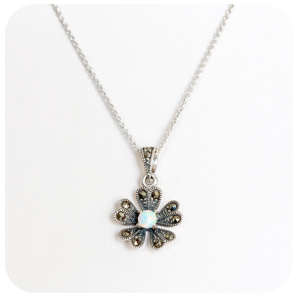 Delicately crafted Gilson Opal and Marcasite Flower Pendant in 925 Sterling Silver - Victoria's Jewellery