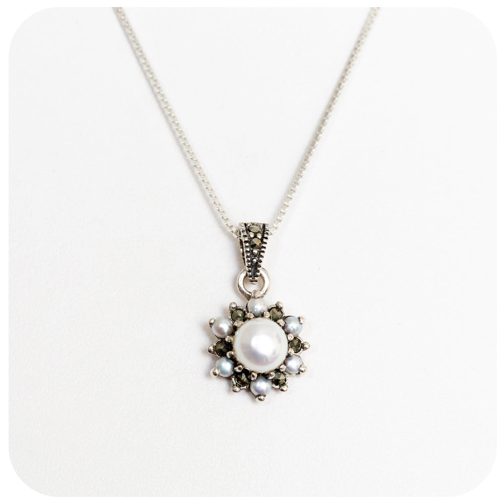 Sparkling Marcasite and Pearl Pendant In 925 Sterling Silver - Victoria's Jewellery