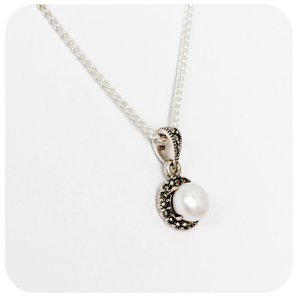 7mm White Fresh Water Pearl Pendant in 925 Sterling Silver - Victoria's Jewellery