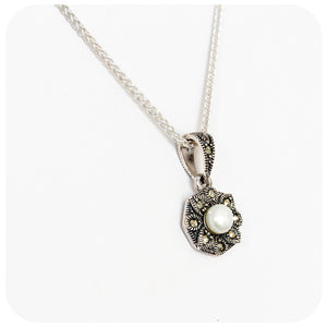 Pearl and Marcasite Flower Pendant - Victoria's Jewellery