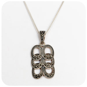 Sterling Silver Pendant with Marcasite - Victoria's Jewellery