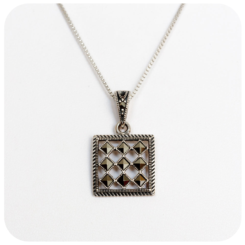 Marcasite Checkerboard Pendant in Sterling Silver - Victoria's Jewellery