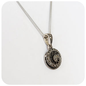 Sterling Silver Swirl Pendant with Marcasite Detail - 10mm - Victoria's Jewellery