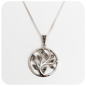 Marcasite Tree of Life Pendant delicately made in 925 Sterling Silver - Victoria's Jewellery