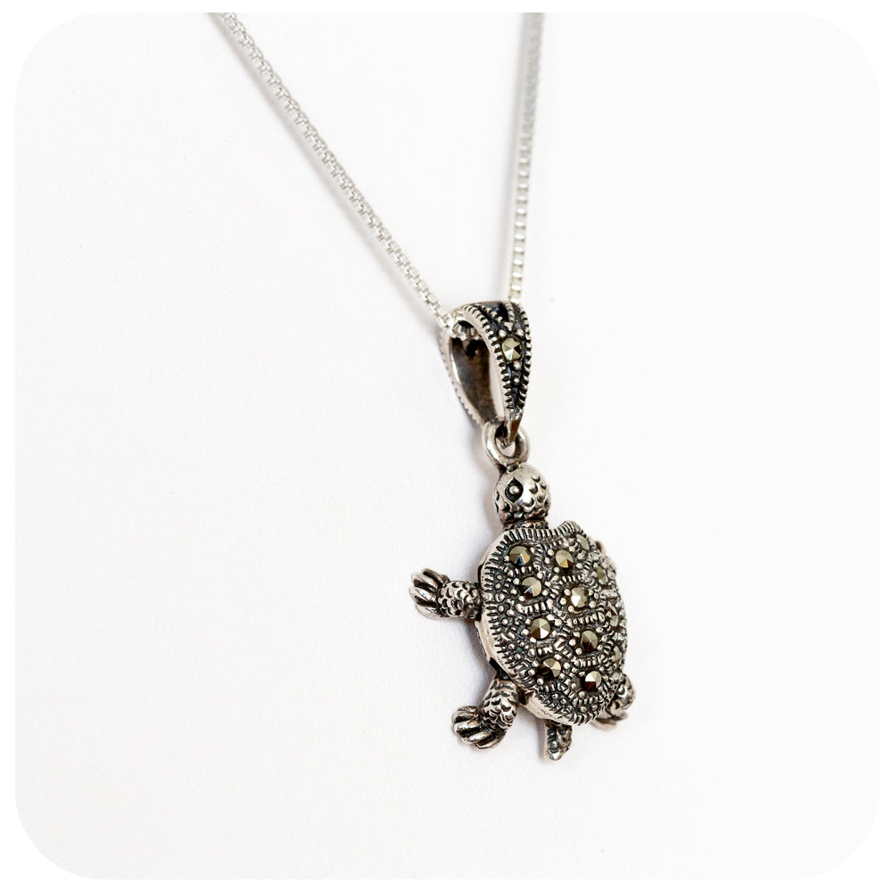 Sterling Silver Turtle Pendant with Marcasite Detail - Victoria's Jewellery