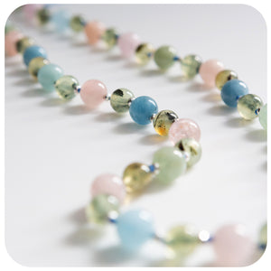 Morganite and Prehnite Necklace - Victoria's Jewellery
