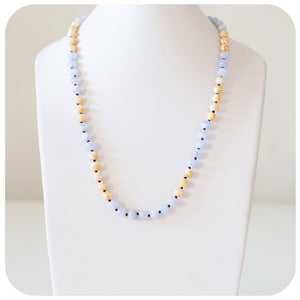 Mother of Pearl and Blue Lace Agate Necklace - Victoria's Jewellery