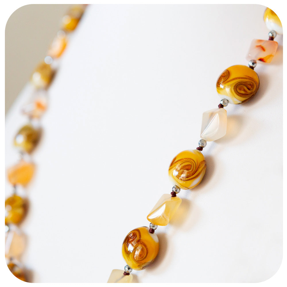 Carnelian and Gold dust Murano Glass Necklace - Victoria's Jewellery
