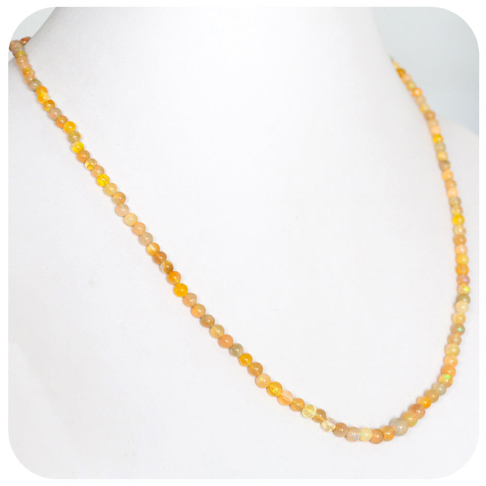 Natural Radiant Opal Bead Necklace, 27 carats with 9k Gold Clasp - Victoria's Jewellery