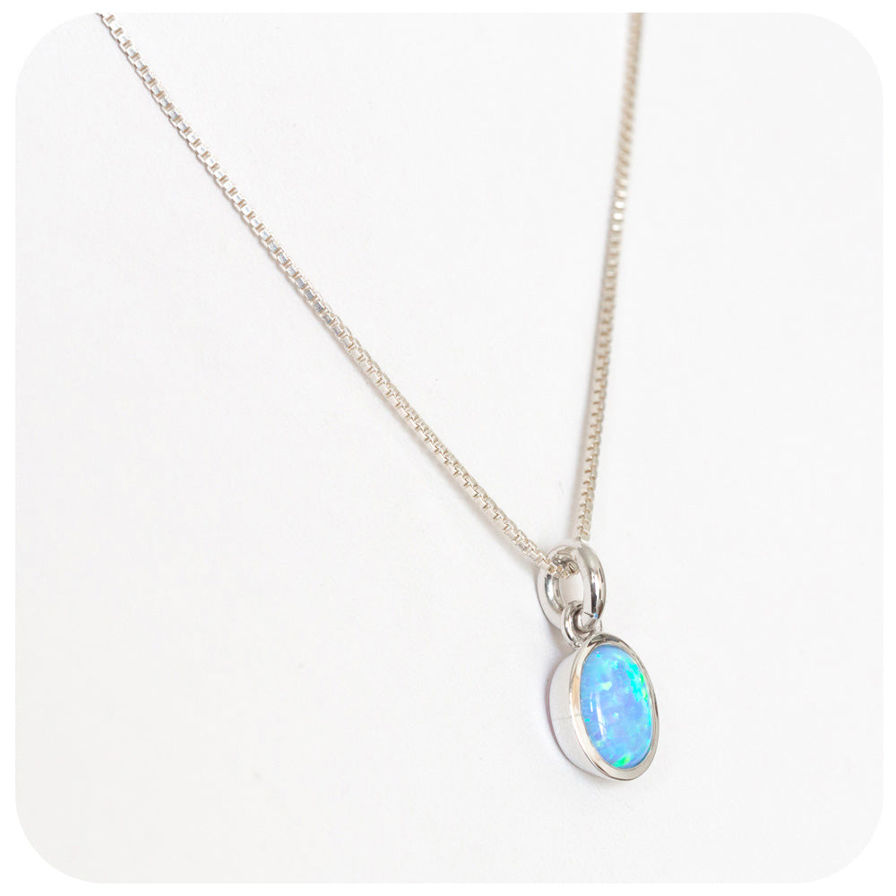 Blue iridescent Gilson-Opal Pendant hand made in 925 Sterling Silver - Victoria's Jewellery