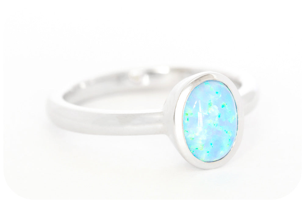 Iridescent Blue, Oval cut Gilson Opal Ring Handmade in 925 Sterling Silver - Victoria's Jewellery
