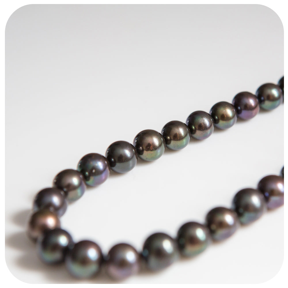 10,5-11,5mm Peacock Pearl Necklace (45cm) - Victoria's Jewellery