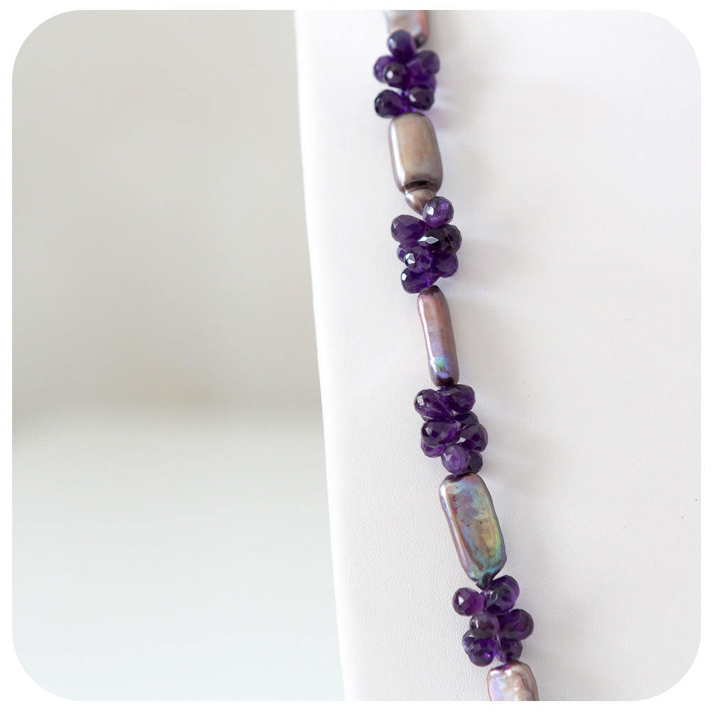 Amethyst and Lilac Biwa Pearl Necklace - 89cm